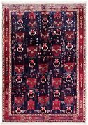 5 X 7 Hand Knotted Navy Blue Wool Afsharr Semi Antique Tribal Oriental Rug