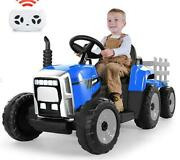 12v Kids Ride On Car Toy Tractor W/trailer Powered Battery Vehicle Toy W/music