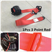 Universal Retractable Vehicle 3 Point Auto Car Red Safety Seat Lap Belt Set Kit