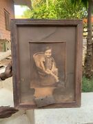 Rare Vintage Collectible Handcrafted Boy Blank And White Photograph With Frame