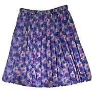 Country Sophisticates Pendleton Purple Pleated Summer Skirt Floral Plus Size 16w