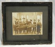 Antique Black And White Framed Photograph Of Medical Students With Human Cadaver