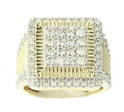 10k Yellow Gold Mens Fashion Square Style Ring With 2.26 Ctw Diamond