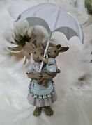 Easter Bunny Hasefamilie With Umbrella Shabby Chic Vintage Deco 8 5 4 11/16in