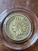 1860 1c Indian Head Cent Pointed Bust Au About Uncirculated