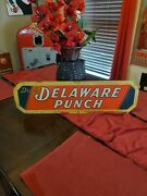 Vintage Early Rare Delaware Punch Soda Pop Metal Sign