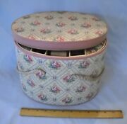 Vintage Oval Victorian Pattern Sewing Box W Tray Filled With Old Notions