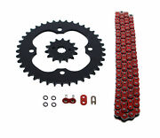 09-14 For Suzuki Ltz400 Z400 400 520-96 Red O Ring Chain And Sprocket Silver 14/40