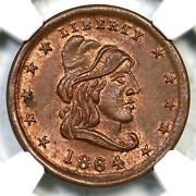 1864 F-46/335a Ngc Ms 65 Rb Liberty - Our Army Civil War Token