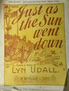1898 Just As The Sun Went Down Lyn Udall M Witmark Sons Vintage Sheet Music Y84