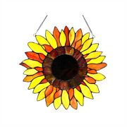 Sunflower Floral Hanging Style Stained Glass Window Panel Decor 16
