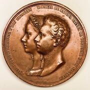 King Luis I And Queen Maria Of Portugal Medal– 1862 Marriage Portuguese Royalty