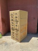 1900s Macey Oak Multi Drawer Card Catalog Cabinet Multi Drawer Office Country