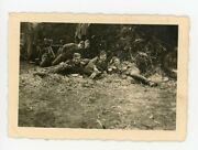 Army Bicycle Troops Eat Rations Near Bikes During March Pause German Ww2 Photo