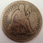 1876-cc Liberty Seated Silver Dime - Very Sought-after Carson City U.s. Coinage
