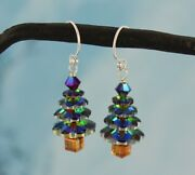 Color Changing Crystal Christmas Tree Sterling Silver Earrings Green Pink Purple
