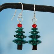 Emerald Green And Cherry Red Crystal Christmas Tree Sterling Silver Earrings