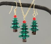 Emerald Green And Cherry Red Crystal Christmas Tree Gold Necklace + Earring Set