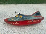 1950's Rare Vintage Blue Bird B336 Litho Tin Boat Wind Up Toy Made In Japan Sign