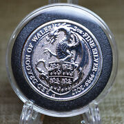 2017 Uk 2oz Queenand039s Beast Red Dragon Of Wales 9999 Silver Bu Coin In Capsule