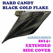 Hard Candy Black Gold Flake Airbrush Stretch Extend Side Cover Fit 14+ Harley
