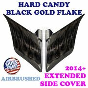 Hard Candy Black Gold Flake Airbrush Stretch Extend Side Cover For 14+ Harley C2