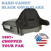 Hard Candy Black Gold Flake Chopped Tour Pak Pack Trunk Latch For Harley 97-20