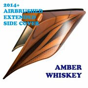 Amber Whiskey Airbrush Stretched Extended Side Cover For 14+ Harley Street Road