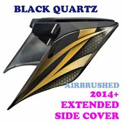 Black Quartz Airbrush Stretched Extended Side Cover For 14+ Harley Road Electra