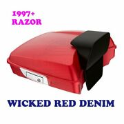 Wicked Red Denim Razor Tour Pack Pak Luggage For 1997-20 Harley Street Road