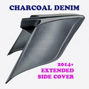 Charcoal Denim Stretched Extended Side Cover For 2014+ Harley Street Road Glide