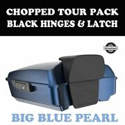 Big Blue Pearl Tour Pack Black Hinges Latch For 97-20 Harley Road Street Touring