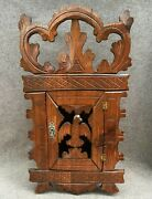Antique German Black Forest Cabinet Key Box With Key Early 1900's Woodwork Eagle