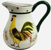 Bella Casa By Ganz Rooster Pitcher Water Tea Farmhouse White Green Yellow