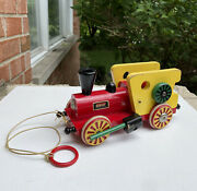 Wow Brio Vintage Wooden Pull Toy 1950and039s Noise Maker Train Engine Rare 50s Toys
