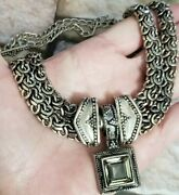 Massive Be-je Designs Heavy Detailed Chain Necklace Crystal Pendant Dot Accents