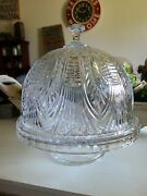 Beautiful Crystal 12 Cake Plate With Dome Cover Heavy