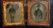 Civil War Union Cavalry Soldiers 1/6 Tintypes And Double Gutta Percha Case.