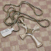 New Large Sterling Silver Verde Cross Necklace With 61 Diamonds Retail 1795
