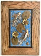 Hand Sculpted Stoneware Pottery Framed Art Tile Butterfly Koi Lily Pads Lotus