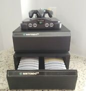 Nintendo 64 Console Controllers 20 Games Tremor Pak Memory Card Cabinet Storage