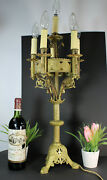 Antique French Church Candelabra Candlestick Neo Gothic Lamp Religious