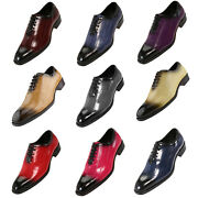 Bolano Eel Print Lace Up Mens Formal Wedding Tuxedo Oxford Dress Shoes