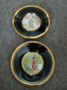 Pair Of Chokin Japanese 24 Gold-plated Fancy Display Plates L@@k