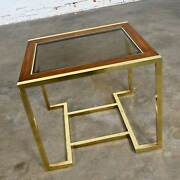 Brass Plated Wood And Glass End Table By Thomasville Furn Style Milo Baughman
