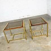 2 Brass Plated Wood And Glass End Tables By Thomasville Furn Style Milo Baughman