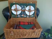Thomas B. Swain Hand Crafted Willow Wicker Picnic Basket W Leather Straps And Se
