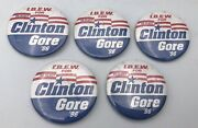 5 Vintage 1996 Ibew For Clinton/gore 2 1/4 Political Buttons/ Pins Free Ship