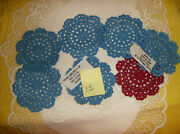 New 7 Pc Crocheted Medallion Doily 6 Blue 1 Red 3-1/2 Doilies Washable Cotton