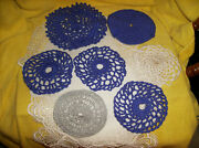 New 7 Pc Crocheted Doilies Purple Silver White Doily 4-1/2 To 6 Made In Usa